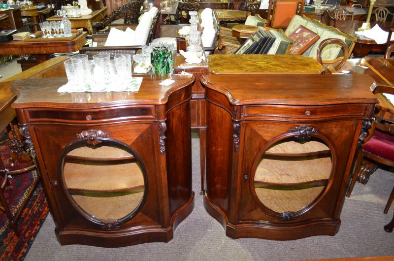 Pair 19th century rosewood side cabinets