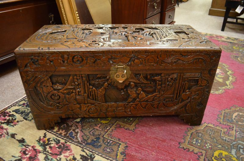 Chinese carved camphor wood trunk sku