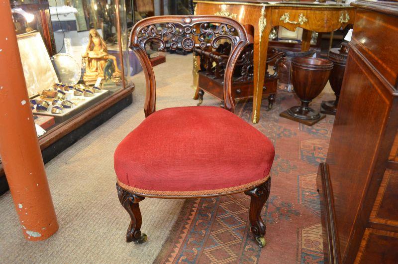 Victorian mahogany low chair