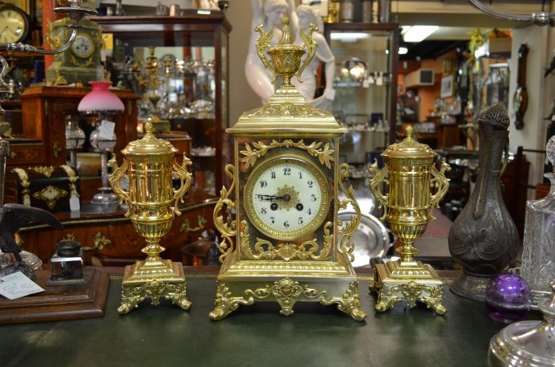 Victorian brass 3piece clock set