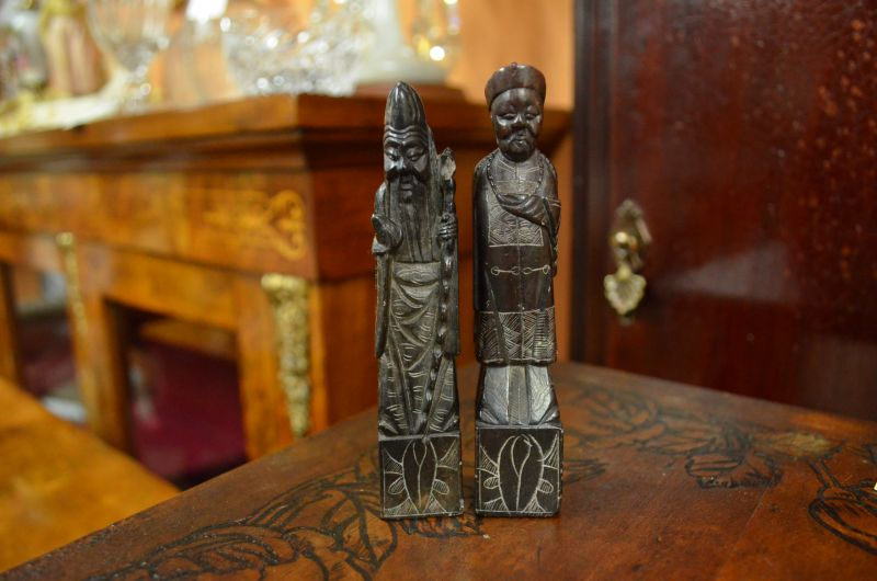 Two Antique chinese soapstone figures
