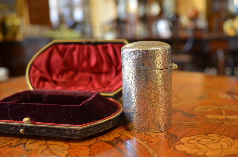 Victorian cased , silver perfume / scent bottle