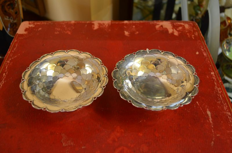 Pair of scalloped silver dishes