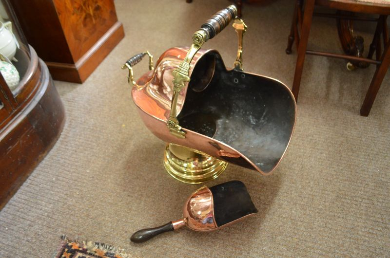 Victorian Copper & brass coal helmet with shovel