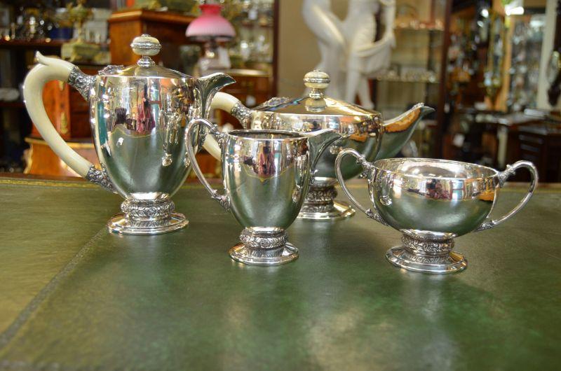 Silver four piece tea set