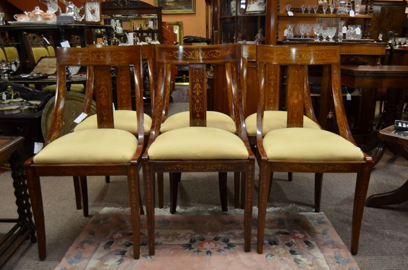 Set of six rosewood chairs with inlay