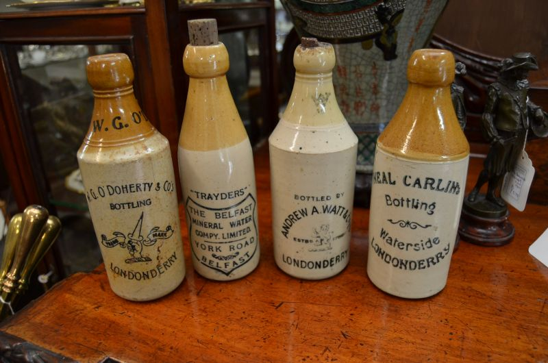 Collection of old stone bottles