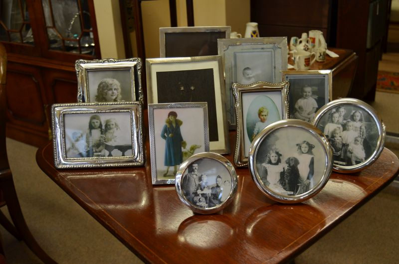 Selection of silver photo frames