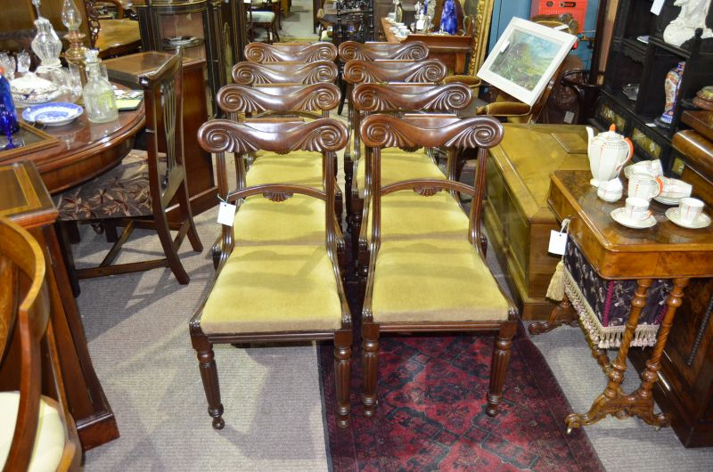 Set of eight william IV mahogany chairs
