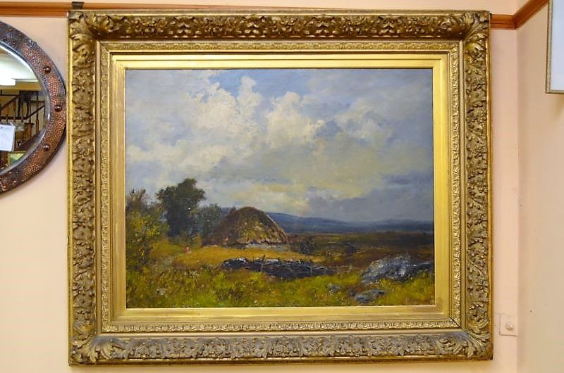 19th century oil painting , signed , in gilt frame