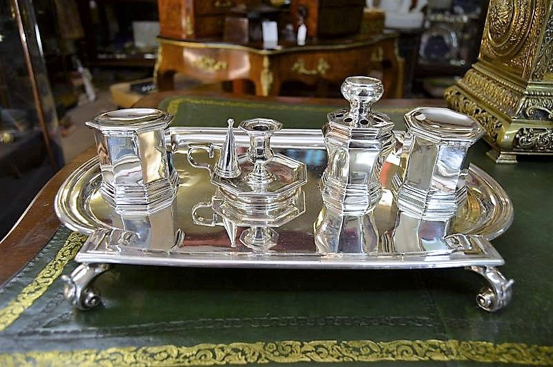 Victorian silver desk set