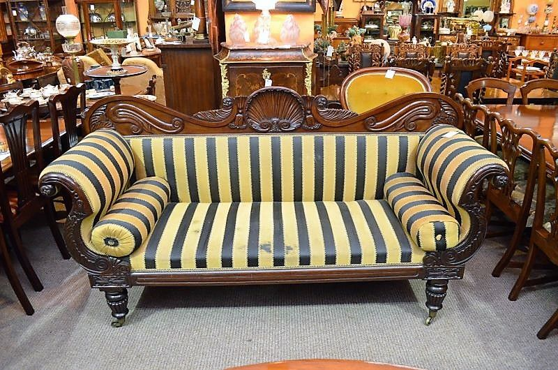 William 1v mahogany couch , on castors, circa 1830
