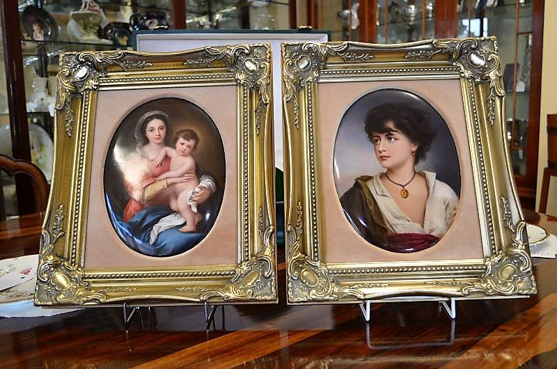 Pair of Berlin Plaques in gilt frames