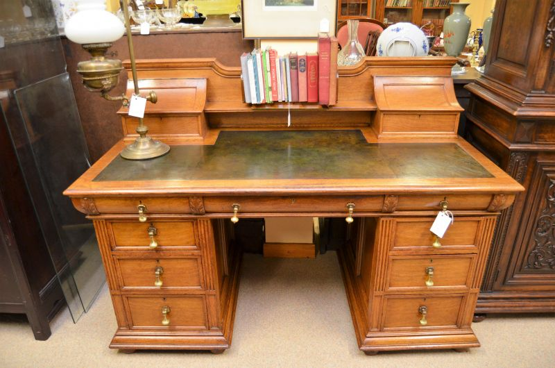 Oak desk with leather top