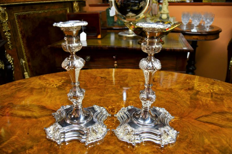 Pair of irish cast silver candlesticks