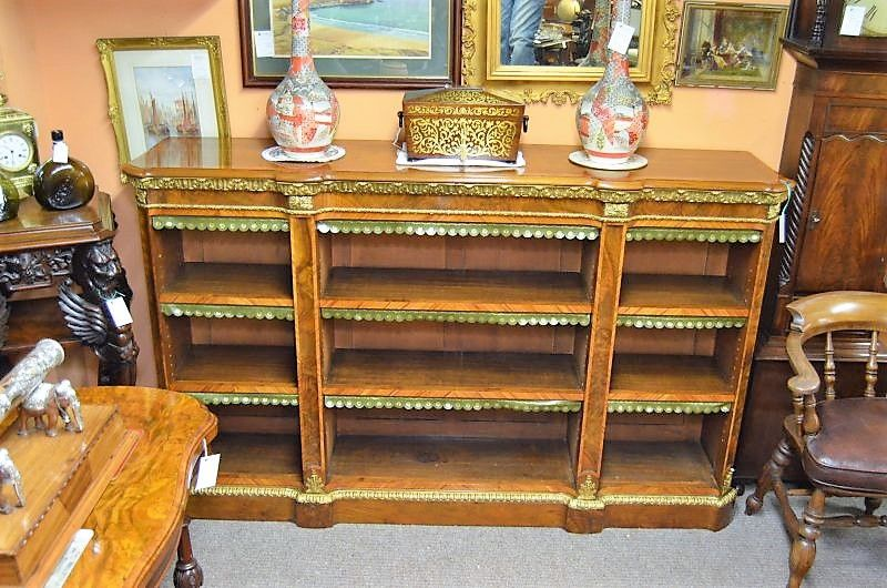 Victorian burr walnut bookcase