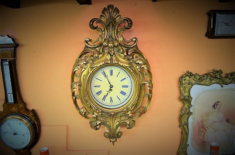 19th century Giltwood wall clock