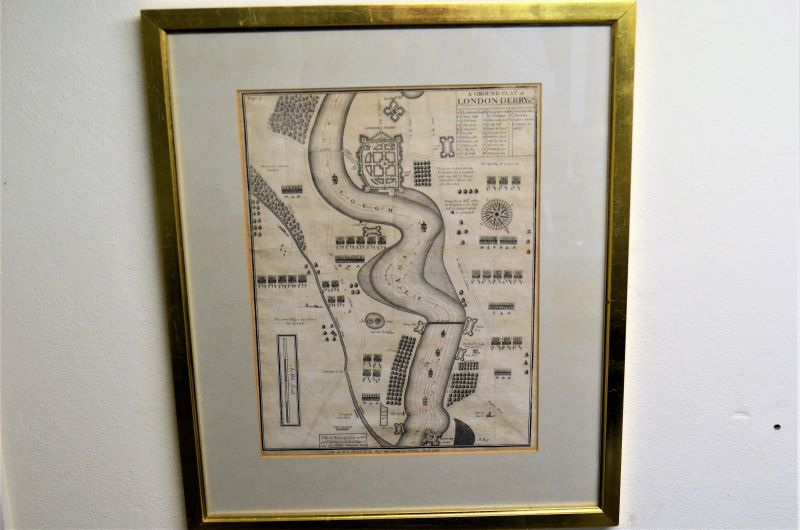 17th century framed map of londonderry