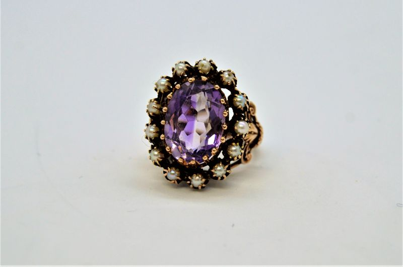 Antique 9ct gold & amethyst ring