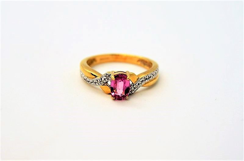 18ct gold pink & sapphire ring