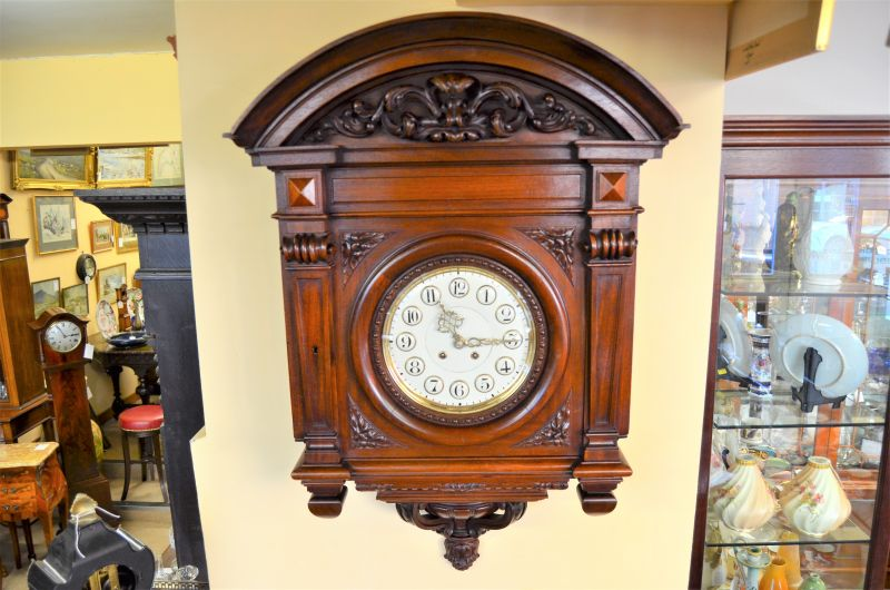 Lenzkirch German carved mahogany wall clock
